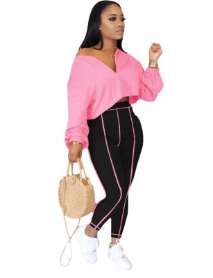 Conjunto de top corto suelto liso de otoño y pantalones ajustados de cintura alta