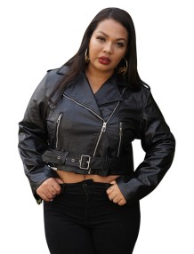 Plus Size Black Leder Reißverschluss Short Jacket
