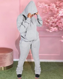 Autumn Blank Pockets Hoody Sweatsuit