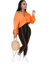 Autumn Plain Loose Crop Top und High Waist Tight Pants Set