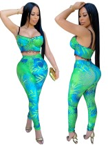 Conjunto de pantalón de cintura alta y top corto ajustado de dos piezas con estampado
