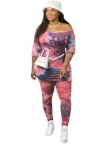 Conjunto de calças de duas peças tie dye tamanho plus