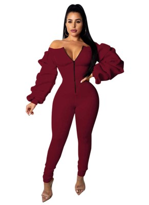 Off Shoulder Bodycon Zipper Jumpsuit with Puff Sleeves