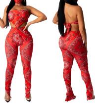 Drucken Sie das rote zweiteilige sexy Erntedach und das Hosen-Set