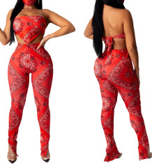 Print Red Two Piece Sexy Crop Top and Pants Set