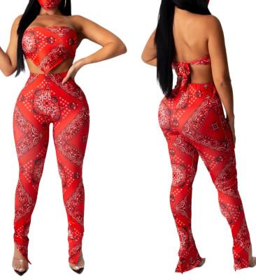 Conjunto de calças e blusa sexy vermelha de duas peças com estampa