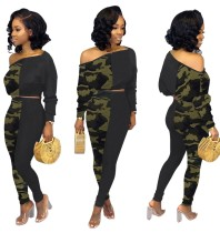Autumn Matching Two Piece Camou Crop Top and Pants Set