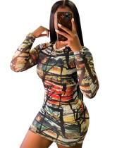Autumn Tie Dye O-Neck Long Sleeve Bodycon Dress