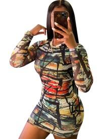 Vestido Bodycon de manga longa com decote em O de outono