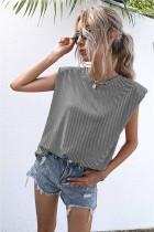 Camicia regolare O-Collo con stampa a righe estive