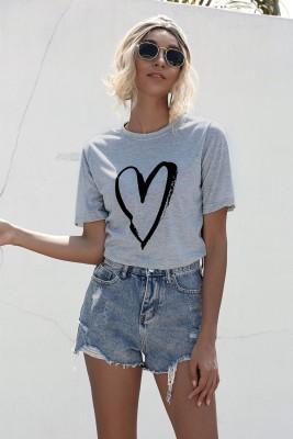 Camisa regular com estampa de coração de verão com decote em O