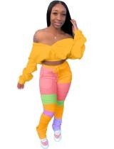 Otoño Sexy Crop Top y colorido conjunto de pantalones