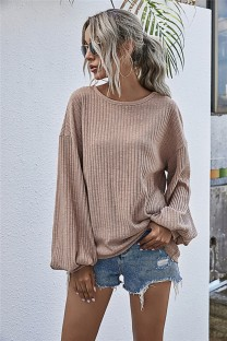 Autumn Solid Plain Knitted Loose Shirt with Pop Sleeves