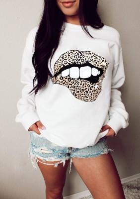 camisa regular branca com estampa de outono