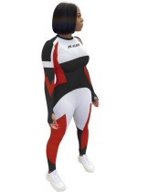 Sport Fitness Kontrast Langarm Bodycon Jumpsuit