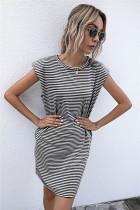 Summer Stripes Print O-Neck Regular Shirt Dress