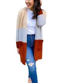 Осенние контрастные цвета кардиганы с обычными карманами и длинными рукавами