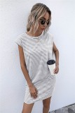 Abito camicia regolare con stampa O-Collo a righe estive