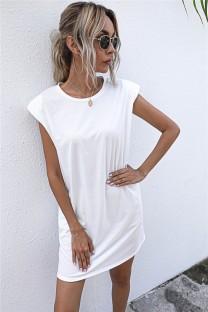 Summer Solid Plain O-Neck Regular Shirt Dress