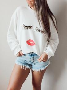 chemise regular blanche à col rond imprimé automne