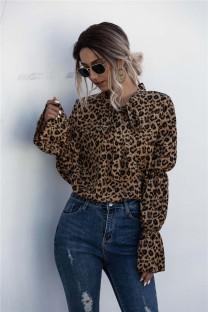 Blouse élégante à imprimé léopard d'automne