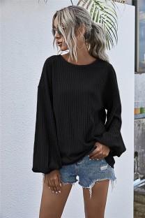 Autumn Solid Plain Strick-Lose-Shirt mit Pop-Ärmeln