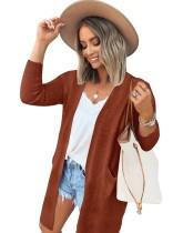 Cárdigans de bolsillo regulares de color sólido de otoño con mangas completas