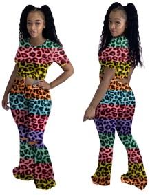 Sexy bijpassende tweedelige luipaardshirt en broek met wijde pijpen