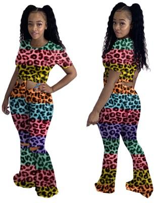 Conjunto sexy de camisa de leopardo de dos piezas y pantalón de campana a juego