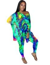 Conjunto de pantalón y camisa de dos piezas a juego con efecto tie dye de otoño