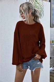 Chemise ample tricotée unie unie d'automne avec manches pop