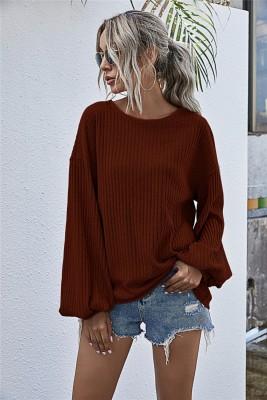 Camisa solta de malha lisa outono sólida com mangas pop