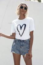 Summer Heart Print O-Neck Regular Shirt
