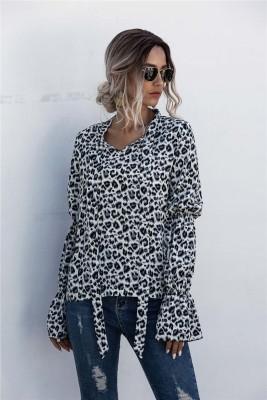 Blusa elegante com estampa de leopardo outono