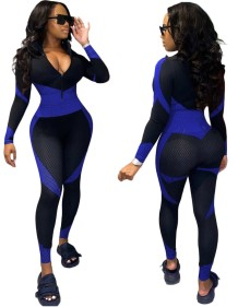 Autumn Sexy Contrast Long Sleeve Zipper Bodycon Jumpsuit