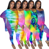Autumn Tie Dye Matching Two Piece Shirt and Pants Set
