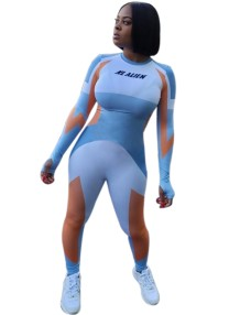 Sports Fitness Contrast Long Sleeve Bodycon Jumpsuit