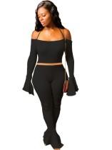 Einfarbige sexy breite Manschetten Crop Top und Bell Bottom Pants Set
