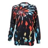 Autumn Tie Dye O-Neck Regular Shirt with Full Sleeves