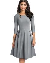 Solid Plain Retro O-Ausschnitt Plissee Skater Kleid