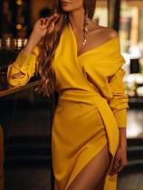 Solid Plain Elegant Slit Irregular Party Dress