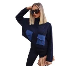 Suéter corto estilo occidental con bolsillos