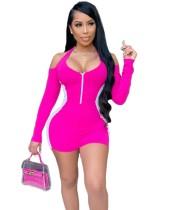 Kontrastfarbe ausgeschnitten Schulterreißverschluss Bodycon Kleid