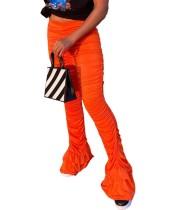 Pantalon froncé sexy taille haute en bas de cloche