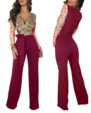 Occassional Applique V-Neck Formal Jumpsuit with Full Sleeves