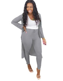 Solid Plain Knitted Pants and Long Cardigan Set