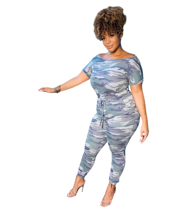 Camou Print Short Sleeves Bodycon Jumpsuit
