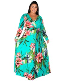 Plus Size Autumn Floral Wrapped Langes Maxikleid mit Gürtel