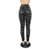 Sexy Black PU High Waist Ruched Pants