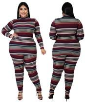 Plus Size Stripes Matching Shirt und Hosen Set
